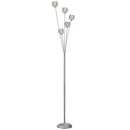 Sc Satin Chrome Crystal - 5 Light Crystal Floor Lamp