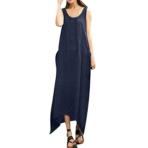 (Women Cotton Linen Irregular Long Maxi Dress Plus Size Vintage Boho Sleeveless Dress)