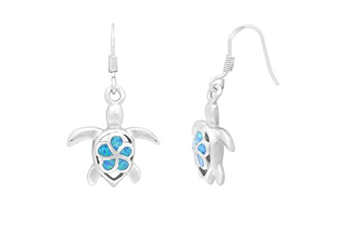 Sterling Silver Turtle Hook Earrings Flower with Simulated Blue ()