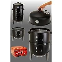 Räuchertonne XXL schwarz Smoking Barrel Garten Balkon ✔ Deckel ✔ rund ✔ stehend grillen ✔ Grillen mit Holzkohle