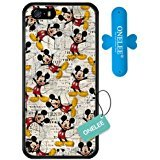 iPhone SE Case,Onelee [Scratchproof][Never Fade] Disney Cartoon Mickey Mouse iPhone 5s Case Black Rubber(TPU) Tire tread pattern [Free One Touch Silicone (Rubber Iphone 5s Cases Disney)
