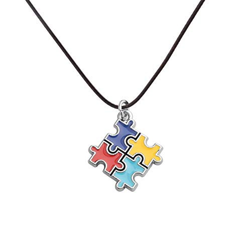CHOROY Autism Puzzle Piece Necklace with Hope Ribbon Charm Asperger Awareness Jewelry Gift for Autism Mom/Autism Teacher/Autistic Girl (Autism Awareness Leather Necklace) (Charm Ribbon Necklace Awareness)