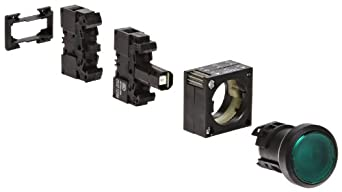 Siemens 3SB3253-0AA41 Pushbutton Unit, Flat Button, Momentary Operation, Illuminated, 230VAC/VDC Integrated LED, 1 NO Contact Type, Green