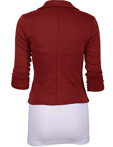 Set Unicolore Chic WineRed Button Size Revers Femme Automne Confortable 2XL Manteau Longues Manches Twin Color Costume Veste Courte Loisirs lgant Affaires Outerwear Mode De wwPOq70