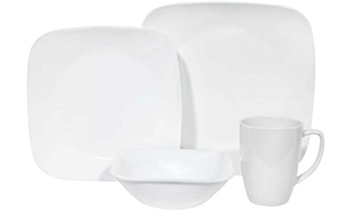 Corelle Square 16-Piece Dinnerware Set, Pure White, Service for 4 (Porcelain Dinner Set)