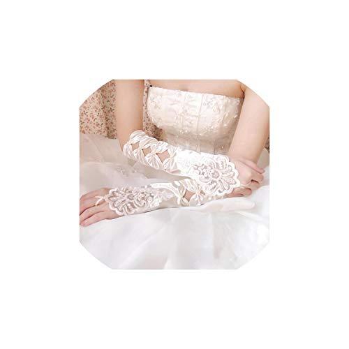 Fingerless Wedding Gloves Sheer Lace Beaded Bridal Gloves Women,Ivory