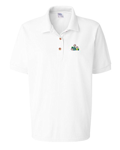 Speedy Pros Sport Baseball All Star 2 Embroidery Polo Shirt Golf Shirt - White, Small All Star Embroidered Jersey