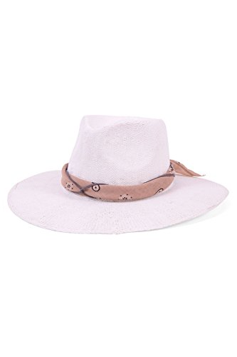 'ale by alessandra Women's Bailey Woven Toyo Sunhat Packable and Adjustable, White/Tan, One Size by ale by Alessandra