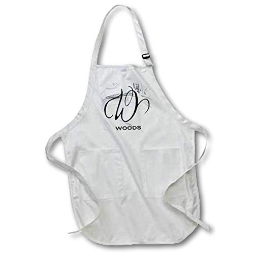 3dRose BrooklynMeme Monograms - White Marble Monogram W - Woods - Full Length Apron with Pockets 22w x 30l (apr_310126_1)