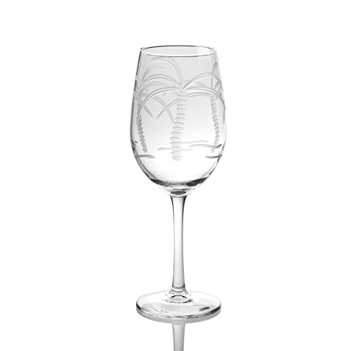 Rolf Glass Palm Tree White Wine Glass (Set of 4), 12 oz, Clear