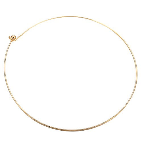 HooAMI Stainless Steel Gold Plated Wire Choker Necklace Bead Clasps 18 Inch