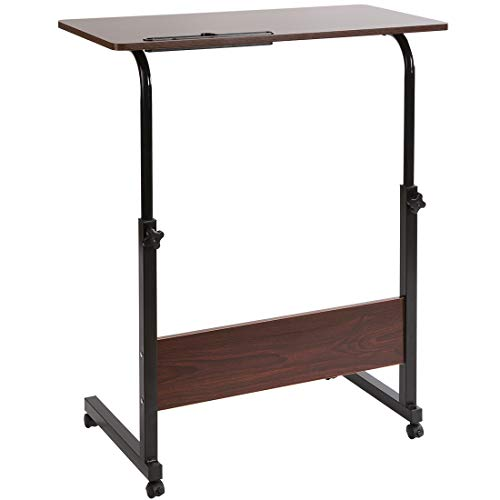 DOEWORKS Height Adjustable Workstation, Portable Cart Tray Side Table, Moveable Notebook Stand, Walnut, 15.75 x 31.5