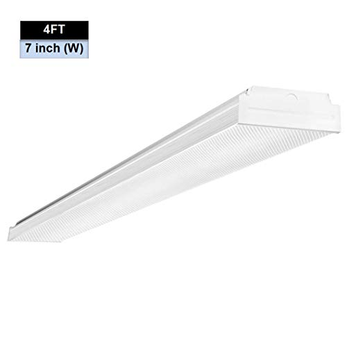 AntLux 4ft LED Garage Shop Lights, LED Wraparound Light Fixture 50W, 5500 Lumens, 4000K Neutral White, 4 Foot Integrated Low Profile Linear Flushmount Ceiling Lighting, 120W Fluorescent - Ceiling White Fluorescent Light