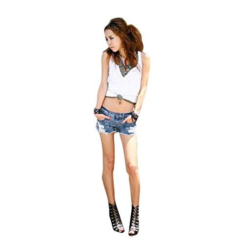 Mini Vaqueros Corto De Flecos Mujer LHWY, Rotos Tejanos Pantalones De Cintura Bajo Sexy Verano