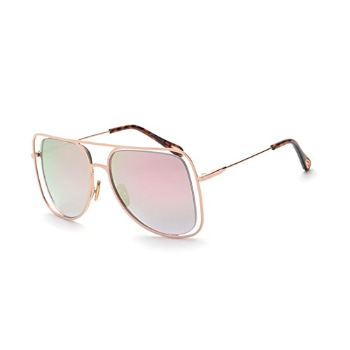 de C4 gafas Gafas enormes sol Cuadro señoras Pink tonos hueco espejo cuadradas sol salida UV443 gafas de TL mujer Sunglasses de G unas Pink plata Mirror C2 de 8wPqRR