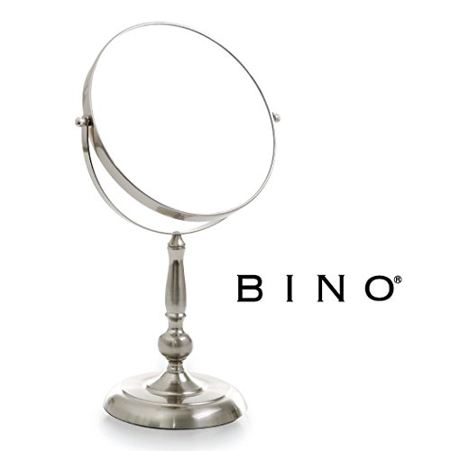 Freestanding Magnifying Mirror (BINO 'The Beauty Queen' 9-Inch Double-Sided Mirror with 3x Magnification, Satin Nickel)