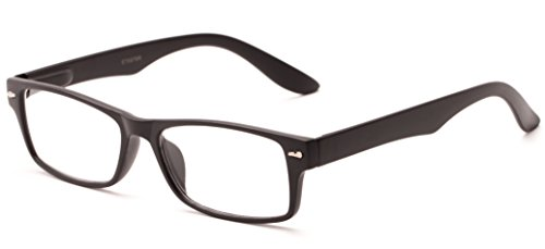 Readers.com The Apollo +1.00 Matte Black High Power Rectangular Retro Square Reading Glasses Apollo Matte