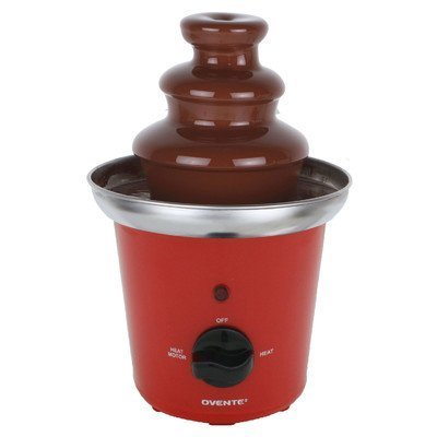 Ovente 2-Tier Chocolate Fountain Stainless Steel, 9 inch, Red (CFS43R) (Chocolate To Oil Ratio For Chocolate Fountain)