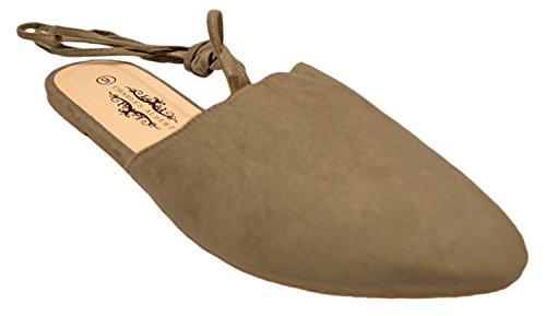Charles Albert Veterpunthuls Mule - Klassiek Comfortabel Balletvlak - Leuke Bandloafer Schoen Taupe