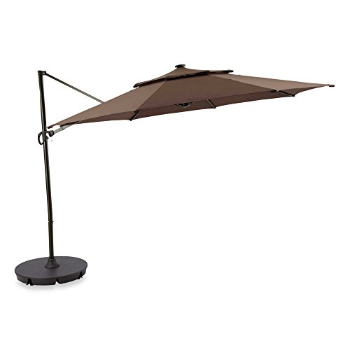 Destination Summer Outdoor Patio Cantilever Umbrella 11 Foot Round Canopy with Solor Powered Lights...