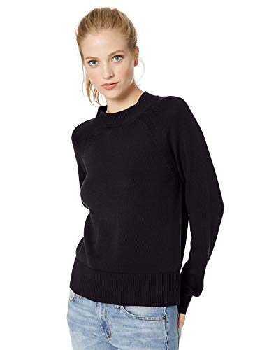 Amazon Brand - Daily Ritual Women's 100% Cotton Mock-Neck Sweater, Navy, Large ()