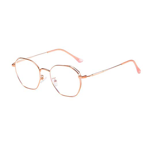 Metal Prescription Eyeglasses - HHL Non-Prescription Anti Blue Light Glasses,Polygon Metal Frame Protect Eyes,Reading Eyewear,Men/Women (Color : Rose Gold)