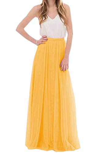 Omelas Womens Long Floor Length Tulle Skirt High Waisted Maxi Tutu Party Dress (Yellow, XL) ()