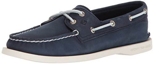 Leather Top Sider Sperry Tie (SPERRY Women's A/O 2-Eye Boat Shoe, Navy, 8.5)