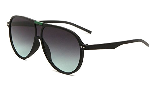 LUXE Retro Turbo Oversized Flat Top Aviator Sunglasses (Matte Black & Green Frame, Black Green - Aviator Sunglasses Turbo