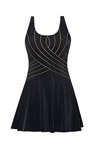 (URqvick Women's One Piece Swimdress Solid Push Up Skirtini Cover Up Vintage Swimsuit (Black, US 24))