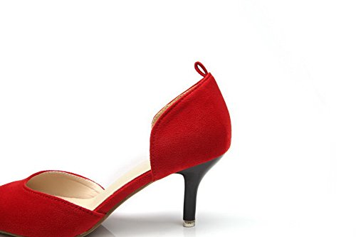AalarDom Damen Spitz Zehe Rein Mittler Absatz Pumps Schuhe Rot