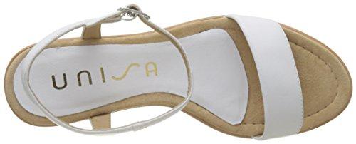 Unisa Rita_18_NA, Sandalias con Punta Abierta Para Mujer Blanco (White)