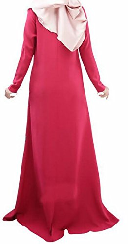 Jaycargogo Floral Islamic Vêtements Abaya Jilbab Caftan Robe Musulmane Femmes Rouge