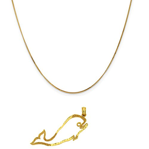 14k Yellow Gold Whales Pendant on a 14K Yellow Gold Curb Chain Necklace, 20
