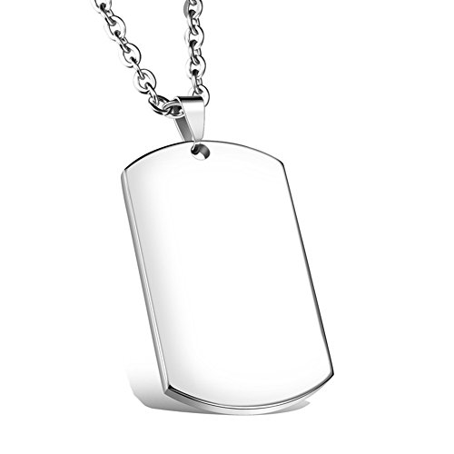 NEHZUS Stainless Steel Plain Dog Tag Pendant Necklace with 22' Chain (Free Engraving)