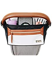 Itzy Ritzy Adjustable Stroller Caddy & Stroller Organizer Featuring Two Built-in Pockets, Front Zippered Pocket and Adjustable Straps to Fit Nearly Any Stroller, Coffee and Cream