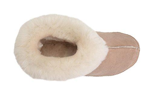 Rusnak Para Mujer De Piel De Oveja Genuina Botines Zapatillas Zapatos Forro De Lana Y Puño Beige / Blanco