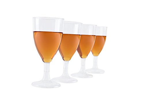Party Wine Glasses - Plastic Wine Glasses - 8 - Ounce - Wine Stems, Clear, Hard Plastic - Bulk Party Pack- 25 Count Upscale Recyclable - or - Disposable Plastic Cups (Wine Rack Bulk compare prices)