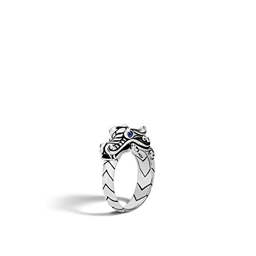 John Hardy Men's Legends Naga Silver Ring with Blue Sapphire Eyes, Size 10