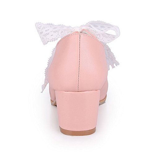 en cuir pour shoes Round rubans pumps Toe Rose balamasa supérieur FdX1f1qw