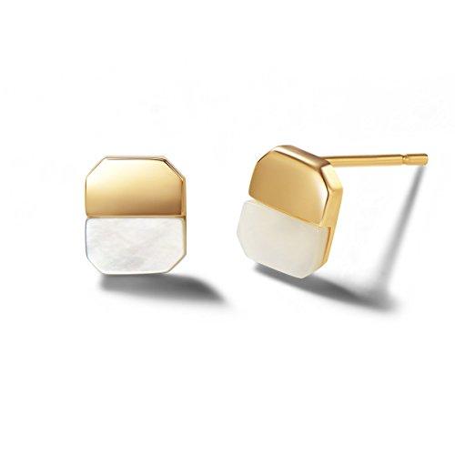 Carleen 14K Solid Gold Dainty Tiny Statement CZ Cubic Zirconia Mother of Pearl Earrings Delicate Fine Jewelry Stud Earrings for Women Girls -