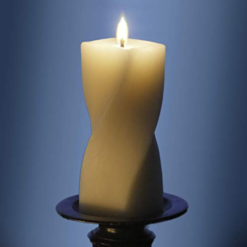 Candle Beeswax Pillar (Droata Helix Pillar Candle - Pure Ivory Beeswax - 6 Inch)