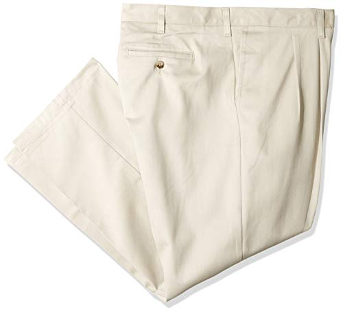 (Lee Men's Big-Tall Stain Resistant Relaxed Fit Pleated Pant, Khaki, 48W x 32L)