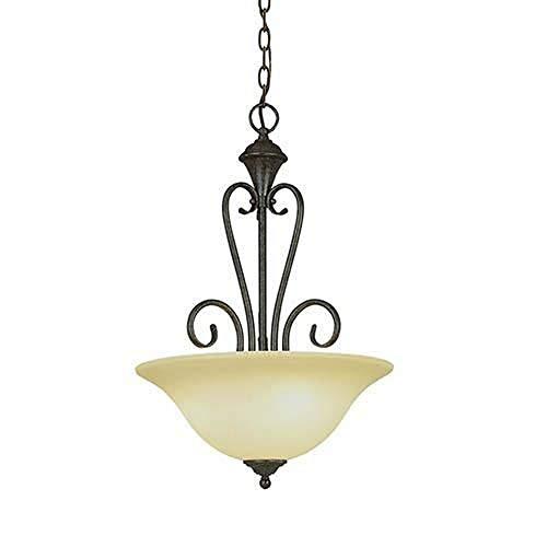 Millennium Lighting 6063-BG Devonshire - Three Light Pendant, Burnished Gold Finish with Florentine Scavo Glass Burnished Gold Finish Pendants