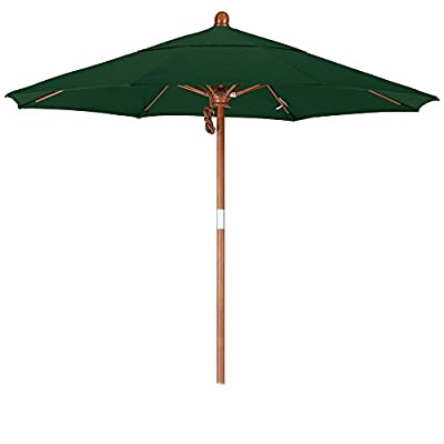 California Umbrella 7.5' Round Hardwood Pole Fiberglass Rib Market Umbrella, Stainless Steel Hardware, Pulley Lift, Sunbrella Forest Green - Overall dimensions 90-inch length by 102-inch height by 90-inch width 8 premium durability fiberglass ribs with over 1/2-inch diameter Canopy is made of sunbrella fabric - shades-parasols, patio-furniture, patio - 31S 2O0LVYL. SS400  -