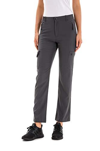 U.mslady Women's Cargo Hiking Pants w/Side Elastic Waist, Lightweight, Quick-Dry Grey