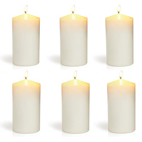 XYUT 3x6 Set of 6 Ivory Pillar Candles Aprox 3x6 inches (3x6 Inch Pillar Candle)