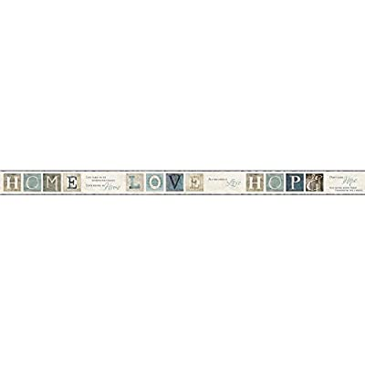 York Wallcoverings AC4365BD Keepsakes Country Quotes Border Wallpaper, Cream, Aqua, Grey, Blue, Taupe