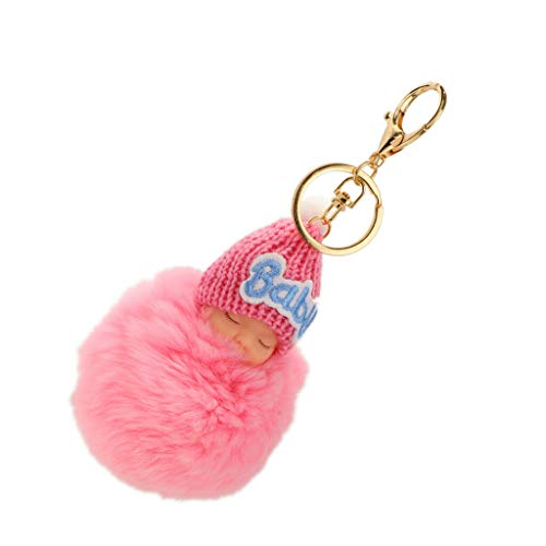 NATFUR Lovely Baby Doll Charm Keyring Keyfob Keychain Gifts Pendant Plush Key Chain Elegant Pretty Novelty Key-Chain for Women Cute for Men Perfect | Color - Pink