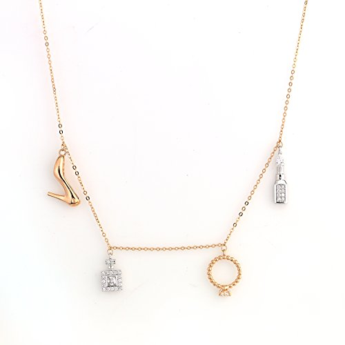 United Elegance - Sassy & Sexy Designer Dangling Charm Necklace set in Trendy Rose Gold Tone with Swarovski Style Crystals (Charms) from United Elegance